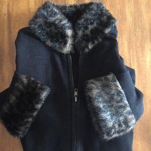 Black zip up sweater with fur collar and cuffs